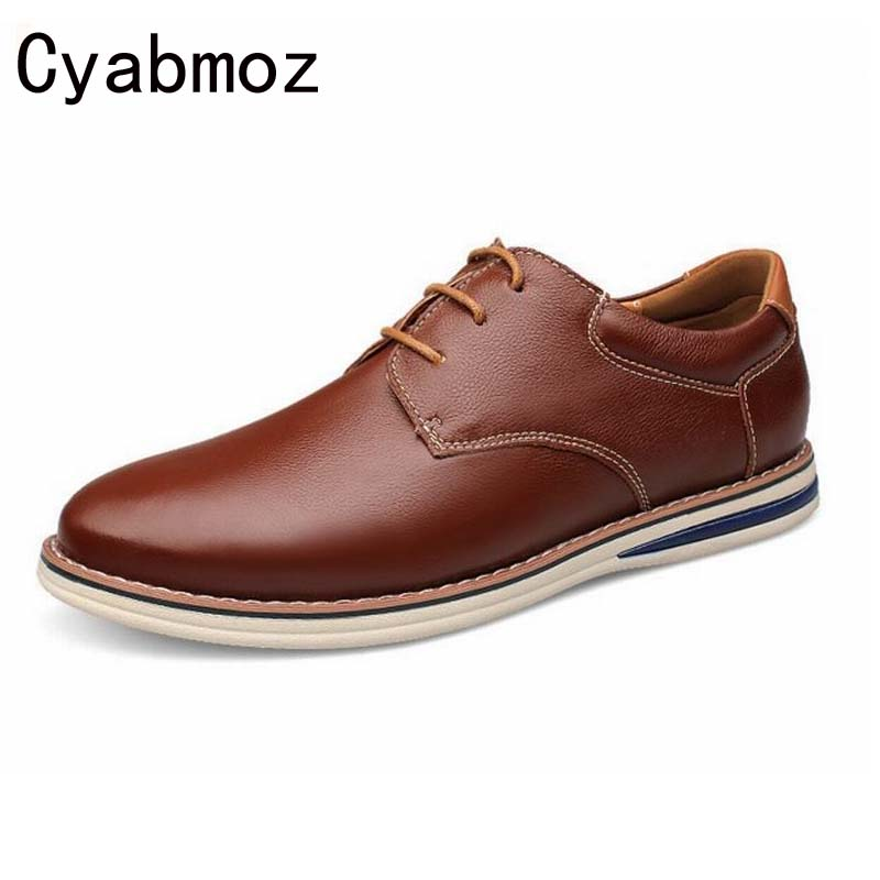 New Fashion Gentleman Casual Shoes Men Classic Lace-up Shoes Genuine Leather Flats Oxfords Shoe Top Quality Casual Men Moccasins good quality men genuine leather shoes lace up men s oxfords flats wedding black brown formal shoes