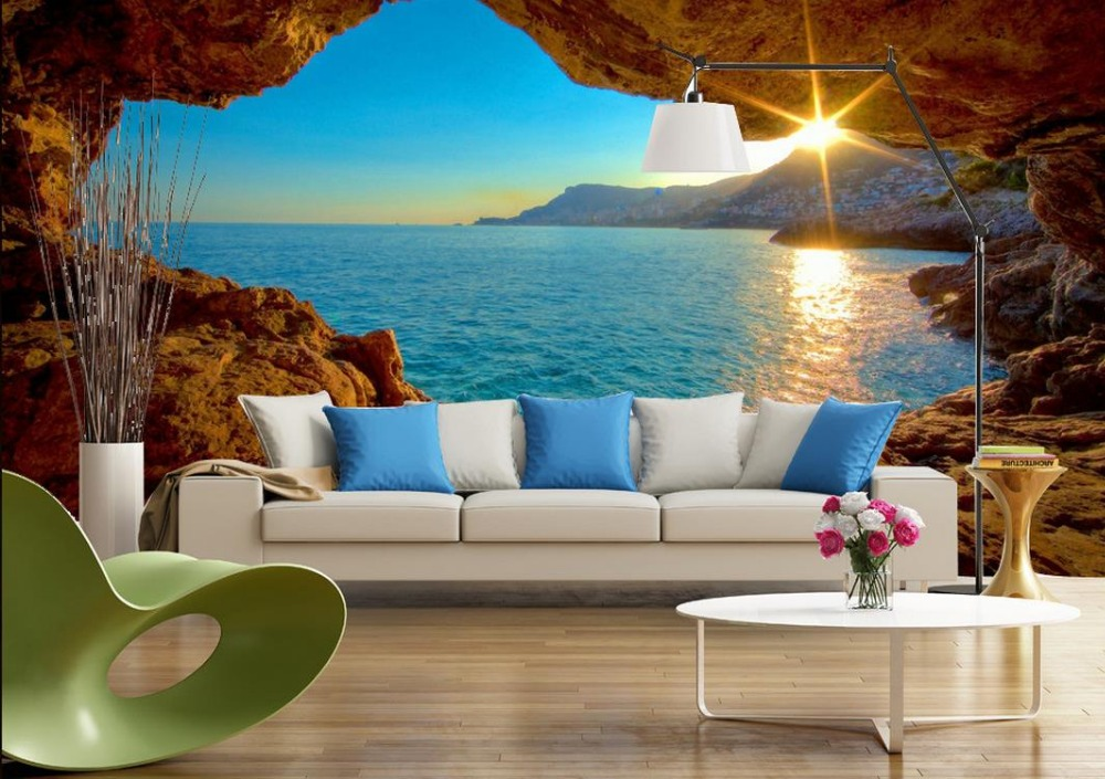3D TV backdrop modern space with sea views 3d room wallpaper landscape 3d wallpapers mountain ...