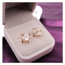 Rhinestone Crystals Square Stud Earrings