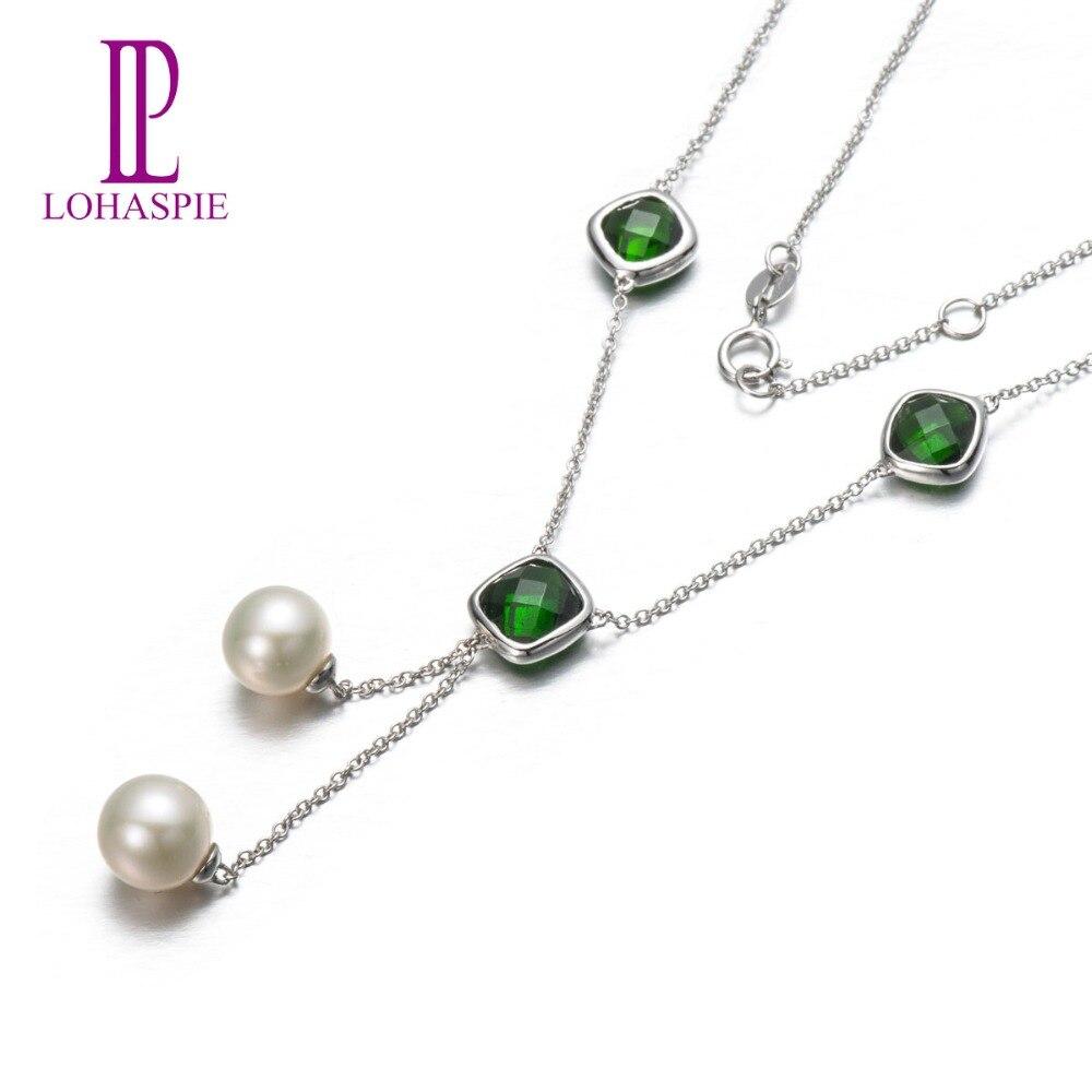 Твердый lohaspie 18 К белого золота 5.04ct природных драгоценных камней хром диопсид и пресной воды жемчужные ожерелья для подарок матери