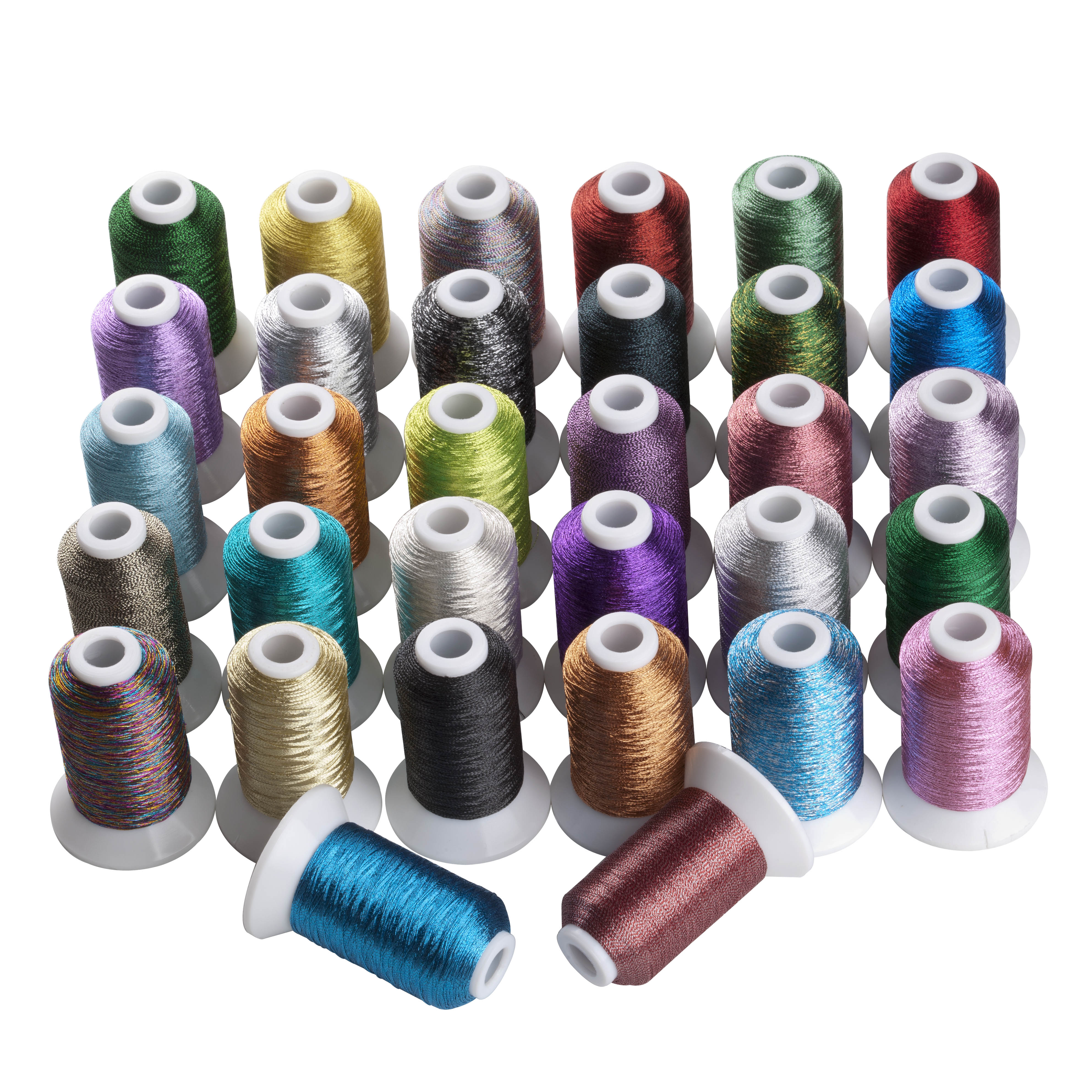 Simthread Brand 500m cone MS Metallic Machine embroidery thread 50pcs Brother Janome Machine A Bobbin with