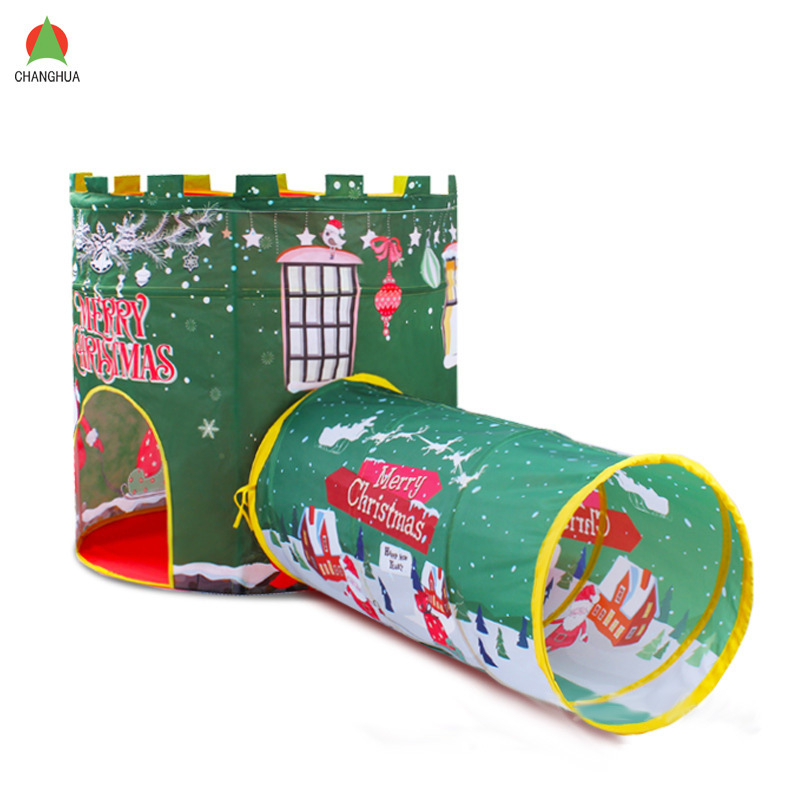 Christmas Kids Toy Tents Outdoor Indoor Children Play Tent House with Tunnel Baby Adventure Game