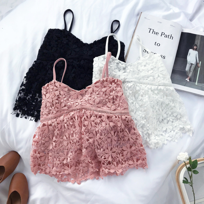 f8f4a14746ed 2018 Summer Women Crop Tops White Pink Black New Korean Fashion Sexy Lace  Flowers