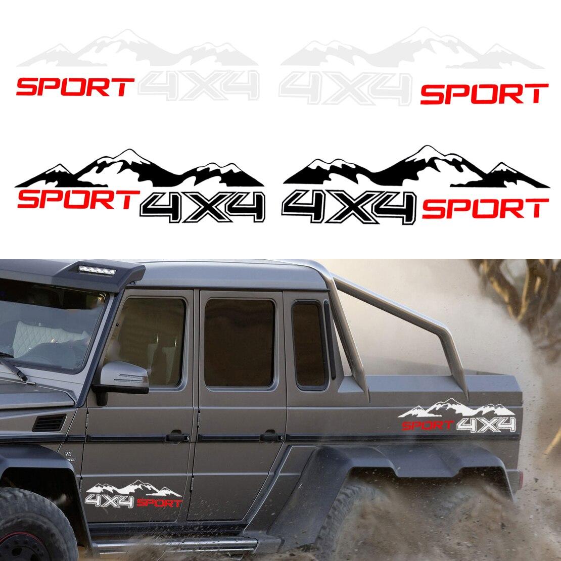 DIY 2Pcs 4x4 Sport Mountain Waterproof Vinyl Decal Sticker For Off Road Car SUV