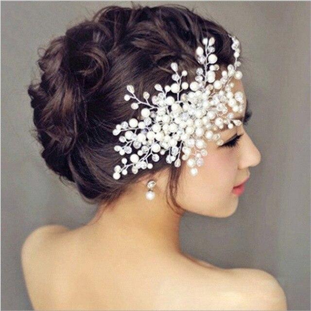 wedding hair accessories elegant crystal pearl hair clips bridal tiara korea hairpin romantic wedding hair jewelry