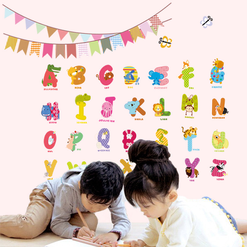 Aliexpresscom  Buy Animal Letters Characters Wall Sticker Flag - Vinyl wall decals alphabet