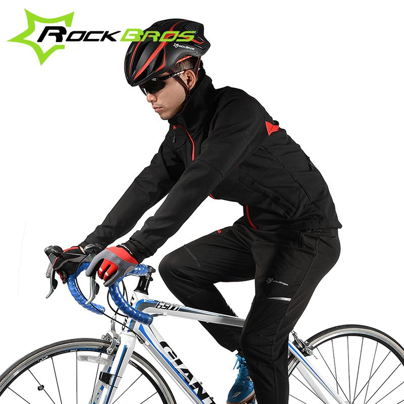 ROCKBROS New MTB Outdoor Sports Fleece Thermal Windproof Pant Bike Bicycle Waterproof Jacket Coat Winter Warm Cycling Sets Suits west biking bike chain wheel 39 53t bicycle crank 170 175mm fit speed 9 mtb road bike cycling bicycle crank