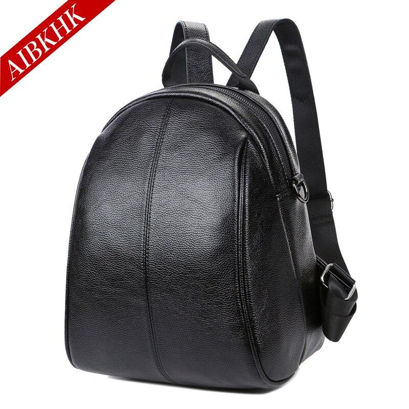 AIBKHK Women Genuine Leather Backpacks For Women Vintage School Bag For College Girl Travel Bag Backpacks Student Shoulder Bags