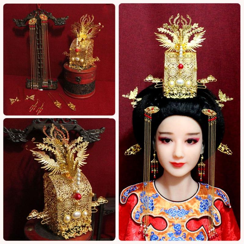 Pearl Bead Original Handmade Hair Tiara Ancient Chinese Tassel Hair Stick Traditional Chinese Wedding Bride Phoenix Tiara