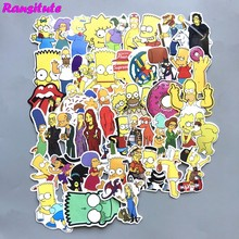R145 50pcs/set The Simpsons PVC Waterproof Fun Sticker Toy Luggage Sticker Motorcycle and Luggage Notebook Sticker(China)