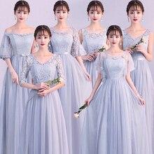 Sexy Plus Size Vrouwen Elegante Dusty Blauw Grijs Roze Bleke Mauve Kant Gast Wedding Party Junior Lange Bruidsmeisjekleding Vestidos 79