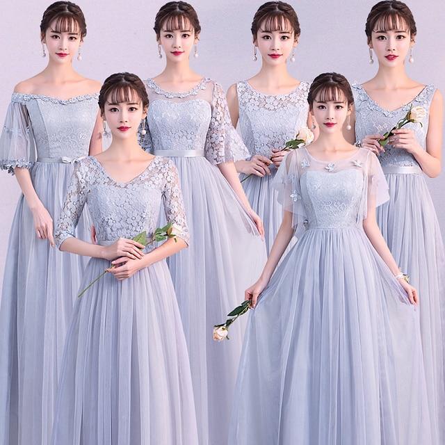 Sexy Plus Size Women Elegant Dusty Blue Gray Pink Pale Mauve Lace Guest Wedding Party Junior Long Bridesmaid Dresses Vestidos 79