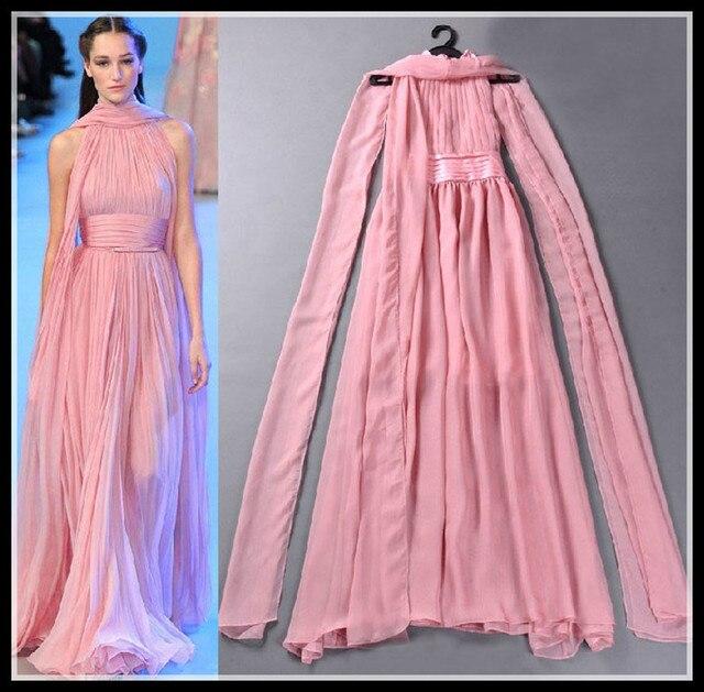 Plisado Pink Prom suelo longitud del vestido vestidos fiesta cuello ...