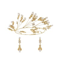 New bride handmade headwear Crown earrings set pearl hair accessories Wedding dress crown accessories Wedding accessories