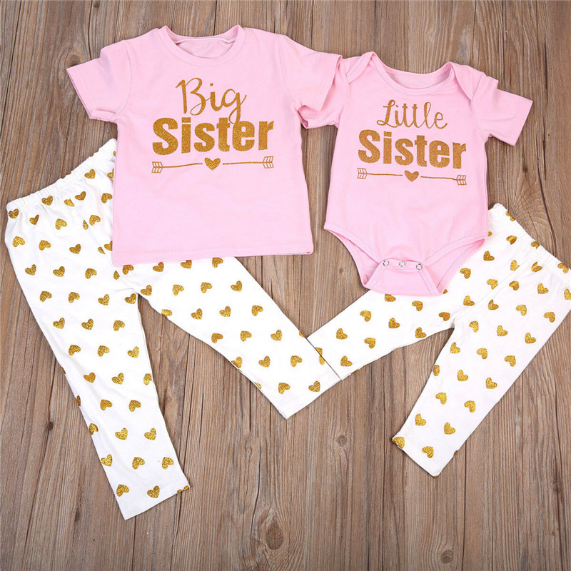2019 Newborn Baby Girls Sisters Matching Romper T-shirt Tops +Pants Leggings Outfit Sets
