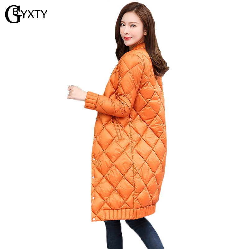 GBYXTY Ultra Light   Down   Jacket Women Autumn Winter Long Duck   Down   Jacket Korea Style O-neck Argyle Slim   Down     Coats   Parka ZA1046