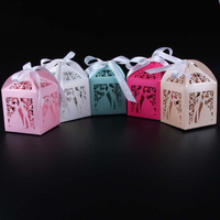 50PCS Laser Cut Bridegroom And Bride Wedding Box In Pearlescent Paper Box Party Show Candy Box
