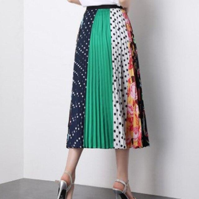 2019 Summer Women Long Pleated Skirt Plus Size Cartoon Print White Black Pleated Skirt Elastic Casual High Waist Skirt 5