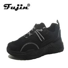 Fujin Sneakers Women Fashion Causal Shoes Thick Bottom Breathable Canvas Lace Color Matching Dropshipping Muffin