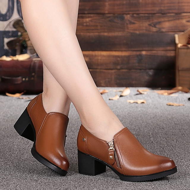 New fall 2017 women's genuine leather shoes, deep mouth side zipper cowhide shoes large size woman shoes # 35-43, free shipping