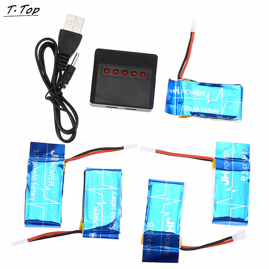 5x 3 7V 850mAh Battery 5 In1 Charger Set For Syma X5SW X5SC RC Drone Quadcopter