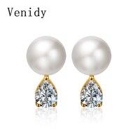 Venidy Natural Pearl Jewelry Sterling Silver Trendy Stud Earrings for Women Classic Sterling Silver Jewelry Oorbellen