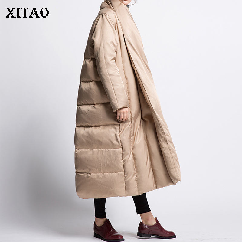 [XITAO] Women 2018 Autumn Korea Fashion White Duck   Down   Full Sleeve Long Solid Color Batwing Sleeve Casual   Down     Coat   ZLL1929