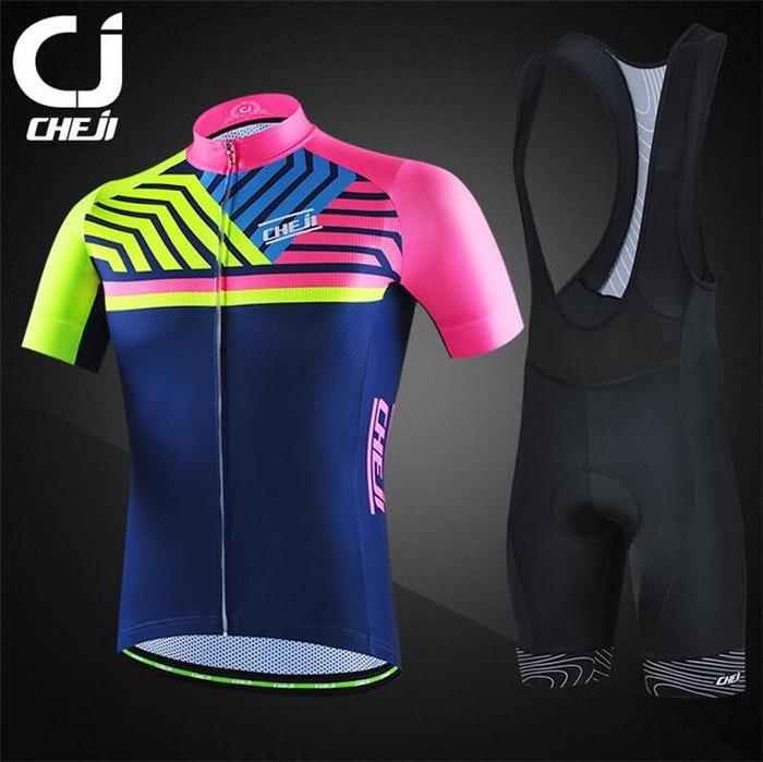 ФОТО CHEJI Men MTB Cycling Clothing Summer Bike Jersey Bib Shorts Female Outdoor Sports Pro Team Ropa Bicycle Wear Set