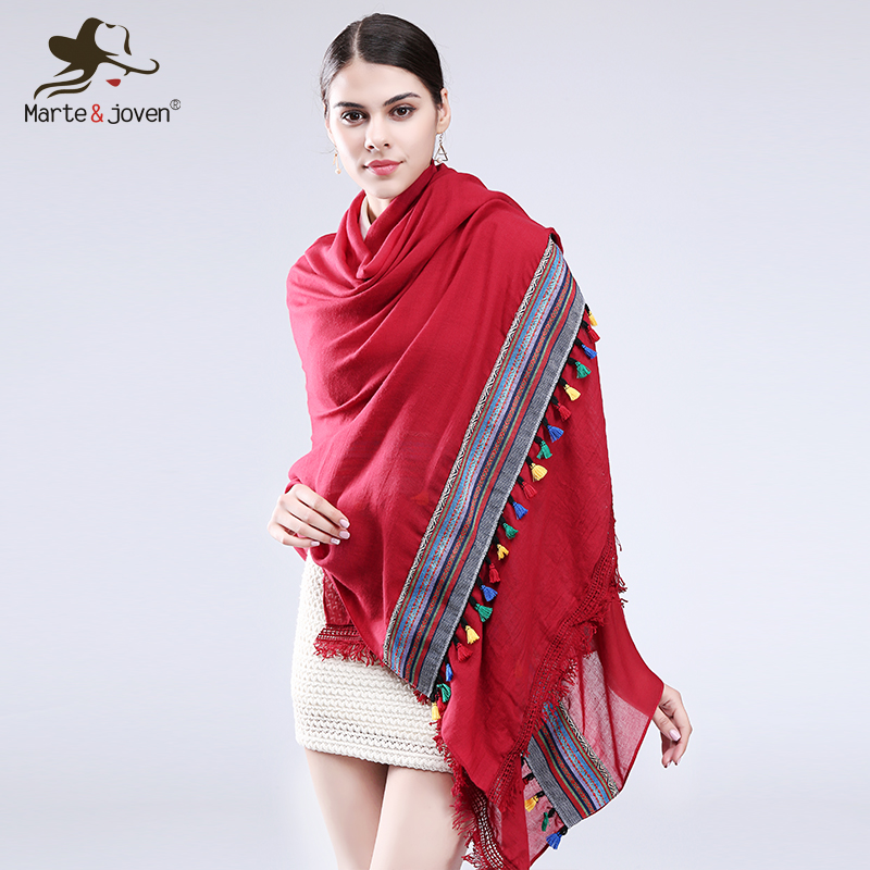 Marte&joven Luxury Brand Women Plus Size Colorful Tassels Cotton Pashmina Scarves Personalized Lace Fringed Scarf Shawls&wraps Structural Disabilities Back To Search Resultsapparel Accessories