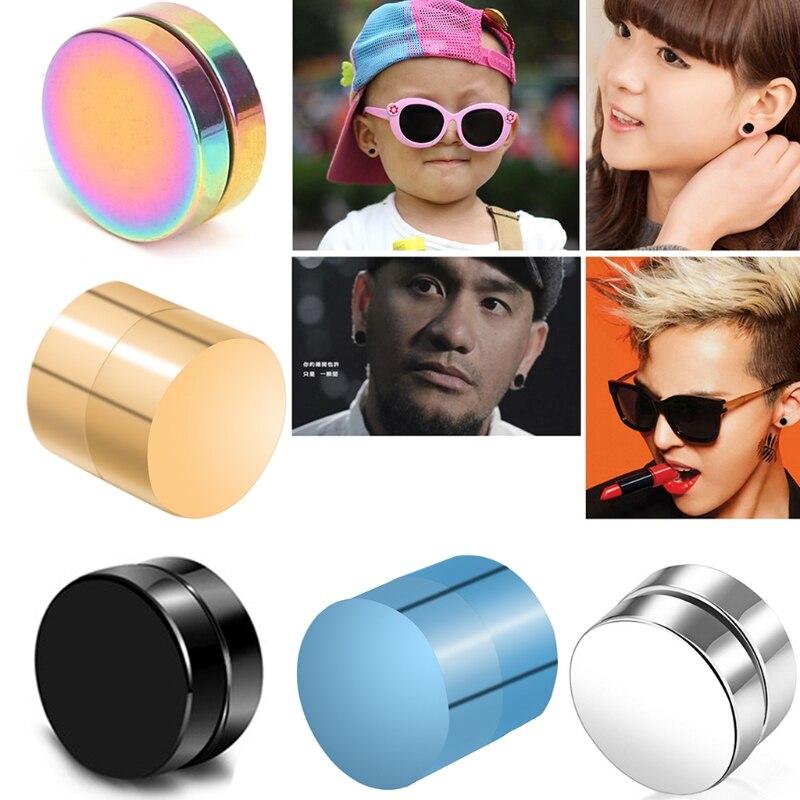 1 Pair Magnetic Stud Earrings For Women Men Boy Metal Magnet Ear Decoration Weight Loss