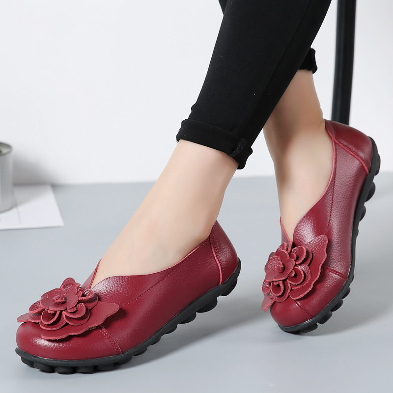 Women Real Leather Shoes Flower Moccasins Mother Loafers Soft Leisure Flats Casual Female Driving Ballet Footwear Women Shoes 3