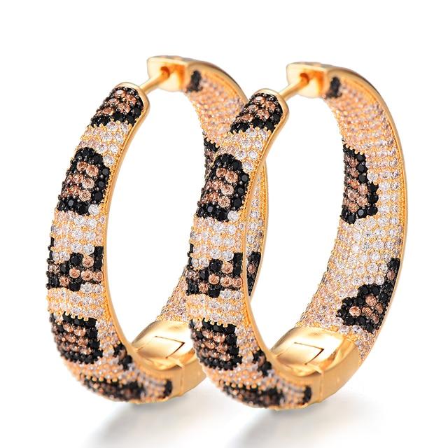 Leopard Hoop Cubic Zirconia Earrings Earrings 8d255f28538fbae46aeae7: BK|GLP|LP|M|RB