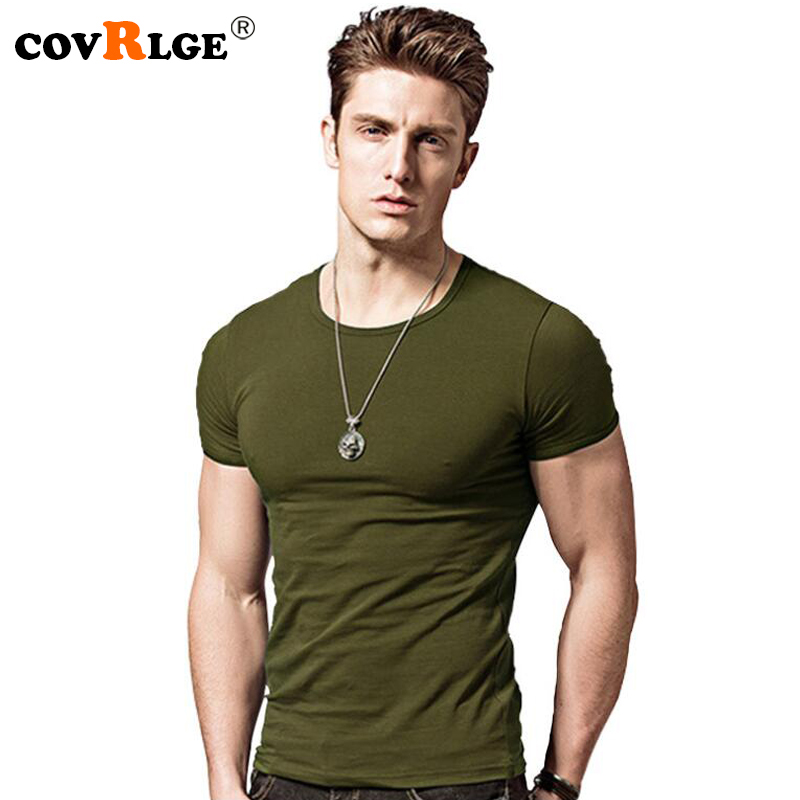 Covrlge 2019   T     Shirt   Men Short Sleeve Solid Tshirt Mens Fashion Slim Fit   T  -  shirts   Casual O-neck TShirts Fitness Clothing Mts2911