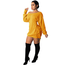 Casual Solid Mini Dress Women Sexy Off Shoulder Slash Neck Long Sleeve Lace Up Bandage Women Dress Slim Night Club Bodycon Dress women long sleeve off shoulder slash neck dress slim body con knitted sweater sexy club dress knee length party night dresses