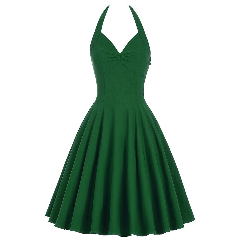 Cotton Halter Rockabilly Summer Dress 50s 60s Retro ...