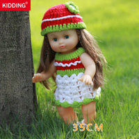 Green Skirt Newborn Reborn Doll 14 Handmade 35cm Boy Girl Baby Silicone Vinyl Gifts Toys With