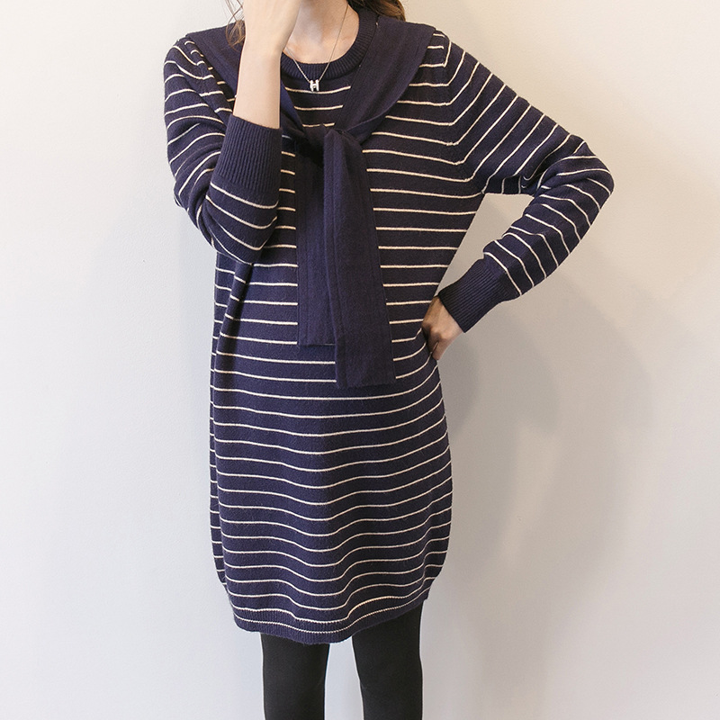 Spring Autumn Pregnant Women Knitted Dress Maternity Clothes Pregnant Women Elegant Office Casual Sweater Knitted Dress 853 maternity clothes fall pregnant women sweater knitting dress autumn winter knitted female loose warm pullover cute lady dresses