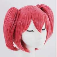 Anime Game LoveLive Ruby Kurosawa Cosplay Wig Rose Wig Double Short Ponytail Anime Cosplay Wig Party