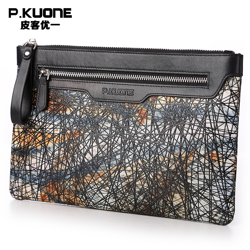 P.KUONE 2017 New Design Fashion Genuine Leather Clutch Bag High Quality Messenger Wallet Luxury Purse Casual Evening Handbag 2016 new design fashion genuine leather clutch bag casual long purse high quality black business women wallet portefeuille femme