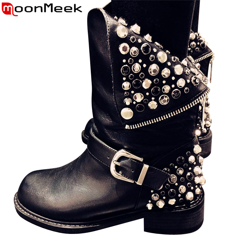 MoonMeek 2017 new genuine leather pu fashion boots women zipper rivets square heels autumn winter ankle