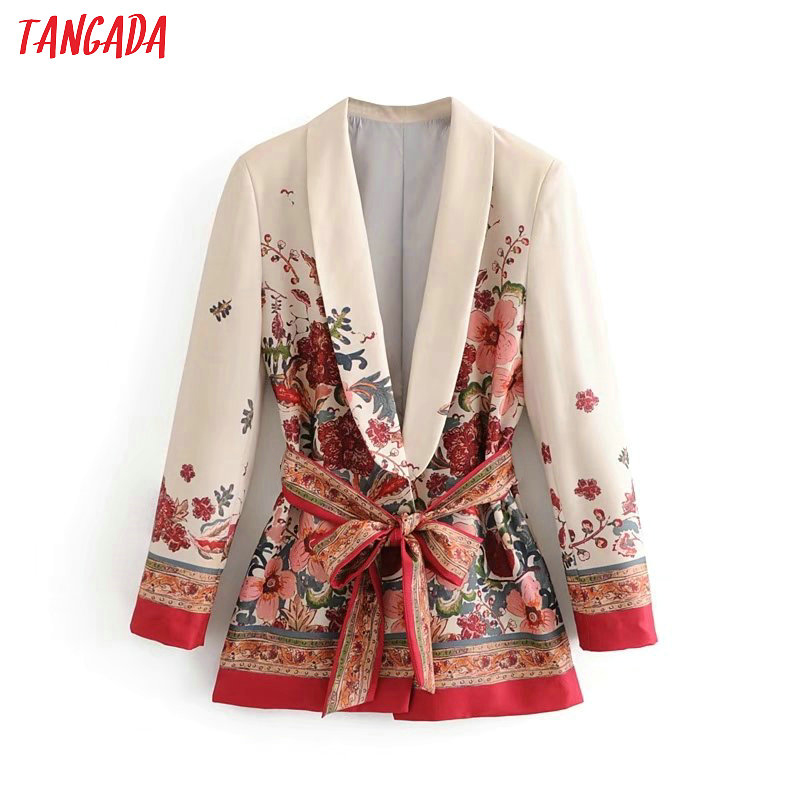 Tangada Women Suit Blazer Floral Designer Jacket Korea Fashion 2019 Long Sleeve Ladies Blazer Female Office Coat Blaser 3H48
