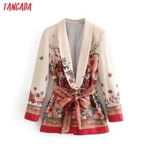 Tangada Women suit blazer floral designer jacket korea fashi