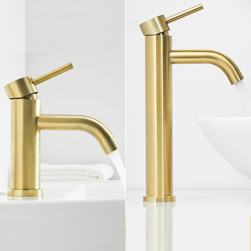MTTUZK 304 Stainless Steel Brushed Gold Bathroom Basin Faucet Cold Hot Mixer Taps Deck Mounted Long Mouth Sink Faucet Crane