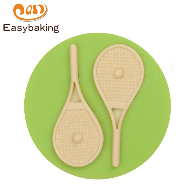 Sport Theme Tennis Rackets And Balls Shape Round Silicone Candy Mold