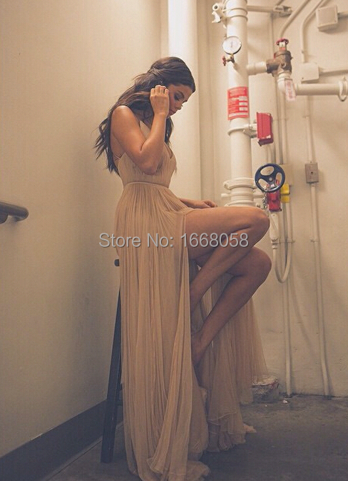 d073d1226a9 Selena Gomez Champagne V neck Long Formal Evening Prom Gown Celebrity Dresses  2014 American Music Awards-in Celebrity-Inspired Dresses from Weddings ...