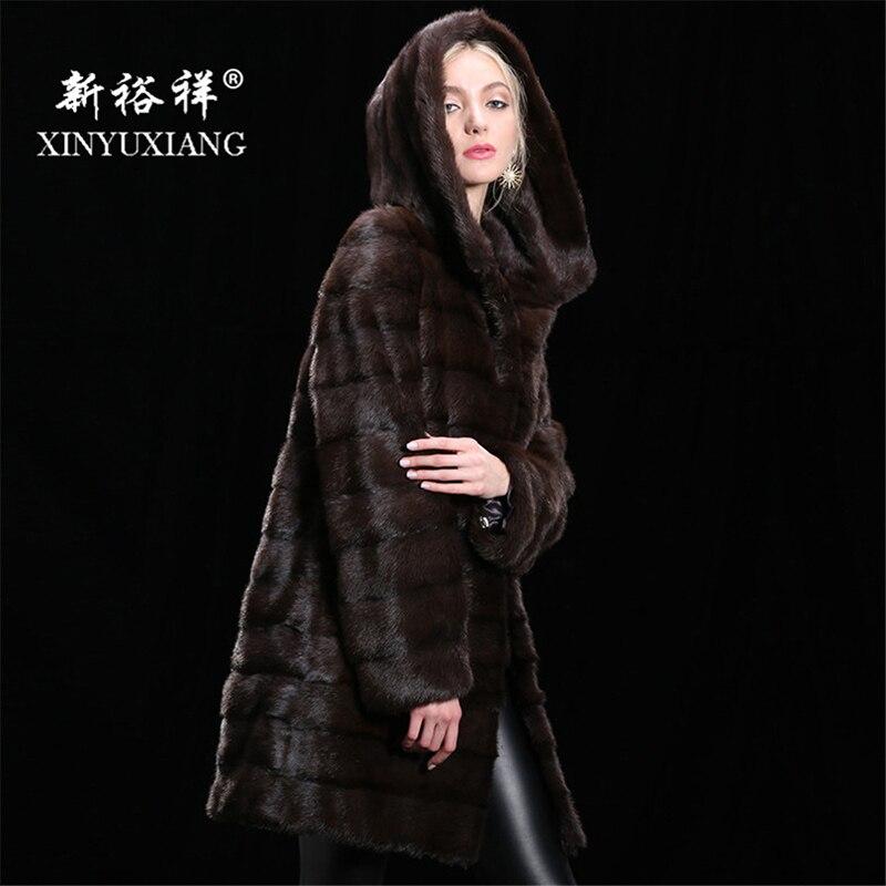 Настраиваемые реального норки зимняя куртка для женщин капюшоном длинный толстый теплый меховой пальто из натурального меха натуральная к...