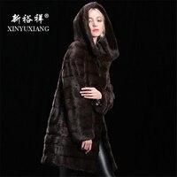 Настраиваемые реального норки зимняя куртка для женщин капюшоном длинный толстый теплый меховой пальто из натурального меха натуральная к