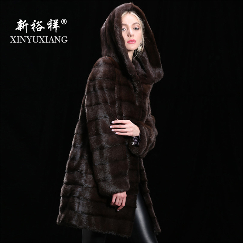 Personnalisable Réel fourrure de vison manteau d'hiver pour femmes Capuche Long et épais chaud manteau de fourrure Naturelle fourrure Véritable En Cuir Réel manteau de fourrure femmes