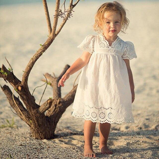 947b2847083a 2017 Fashion Summer Girls Cotton Lace Dress Kids Embroidered White ...