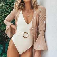 Simplee cuello pico traje de baño mujeres traje de baño cinturón sexy mujer traje de baño una pieza bodysuits brasileño alto corte blanco bikini 2019